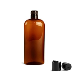 Amber Cosmo Oval 8 oz Plastic Bottle
