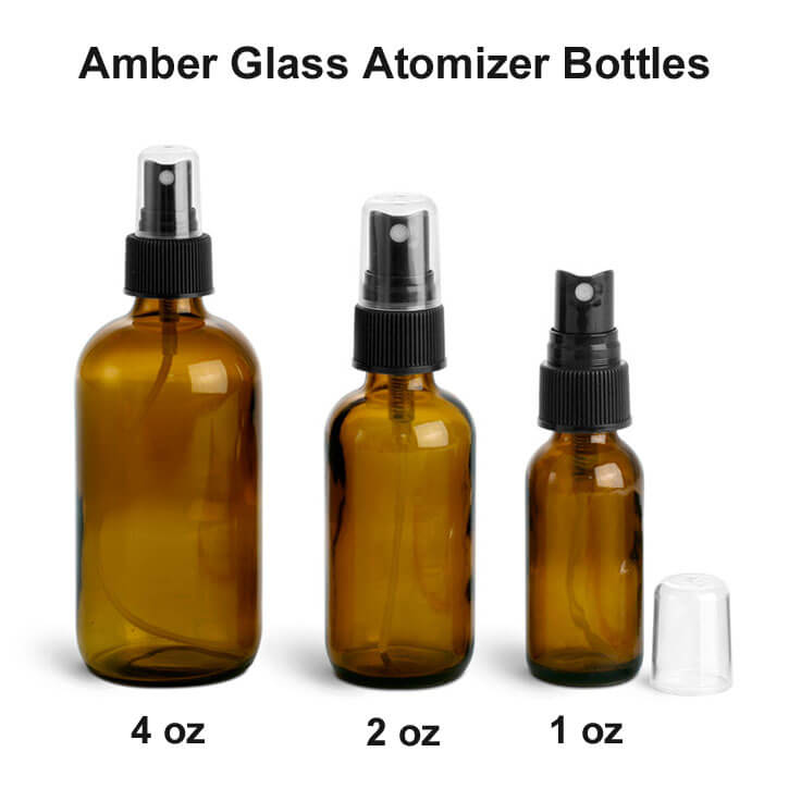Amber Glass Bottles with Atomizer